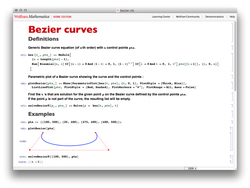 Bezier Curves Mathematica notebook
